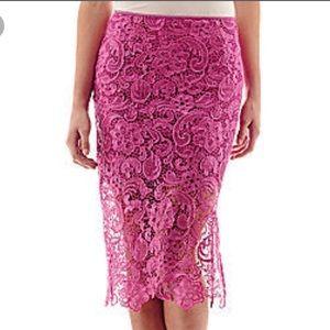 ❤️Bisou Bisou Bright Pink Lace Pencil Skirt